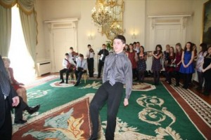 Maurice dancing at Aras an Uachtarain